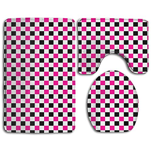Pink and Black Checkers Patterns Bathroom Rug Mat Bath Rug Set, Non-Slip 3 Piece Washable Soft Bath Mat, Contour Mat & Toilet Lid Cover for Kitchen Shower and Toilet (Beanie Baby Checkers)