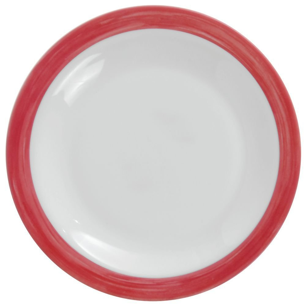 Cardinal Hospital Plate with Cherry Narrow Rim Tempered Glass - 9 1/4''Dia 24 Per Case