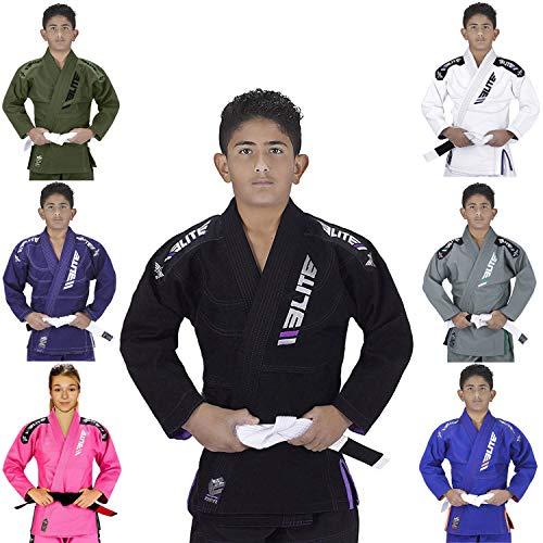 Elite Sports IBJJF Ultra Light BJJ Brazilian Jiu Jitsu Gi for Kids with Preshrunk Fabric and Free Belt, C1, Black ()