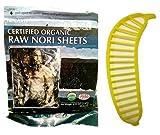 Raw Organic Nori Sheets 50 qty + Banana Slicer - COMBO - Certified Vegan, Raw, Kosher Sushi Wrap Papers - Premium Unheated, Un Cooked, untoasted, dried - RAWFOOD