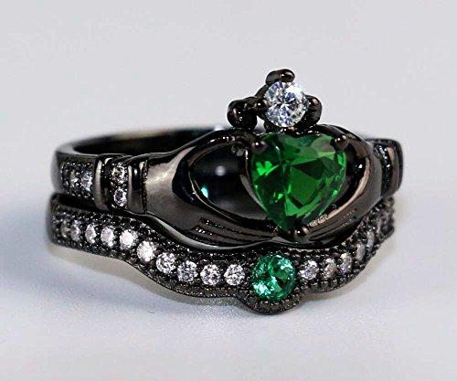 Emerald Set Claddagh Ring - 1
