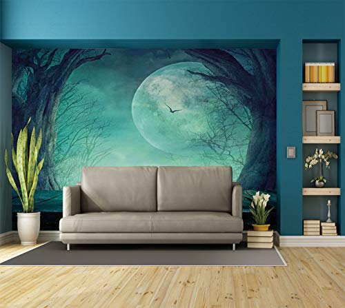 Large Wall Mural Sticker [ Halloween Decorations,Spooky Forest Moon and Vain Branches Mystical Haunted Horror Rustic Decor,Teal ] Self-adhesive Vinyl Wallpaper / Removable Modern Decorating Wall Art for $<!--$238.99-->
