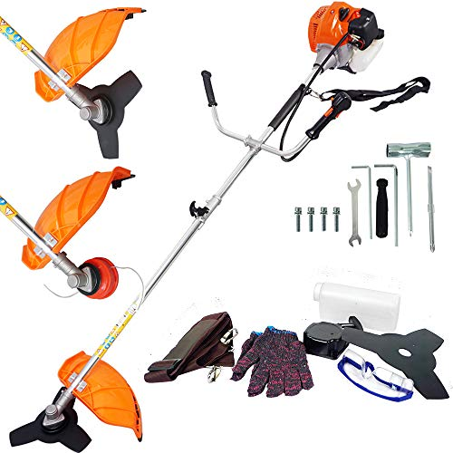 ECO LLC Two-Stroke Gas Powered Straight Shaft String Trimmer/Grass Shears/Powerful Weedeater/Mini-Mower/Brush Cutter Combo Lightweight Air-Cool (Mower Lawn Shaft)