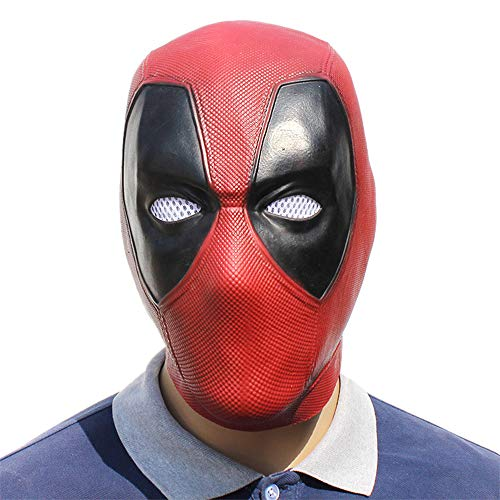 Halloween Costume Cosplay Dexule Full Head Latex Accessory Deadpool Mask (Red)