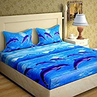 DECO READY Glace Cotton King Size Double Bedsheet,Set of 1 Bedsheet and 2 Pillow Covers,Blue Dolphin