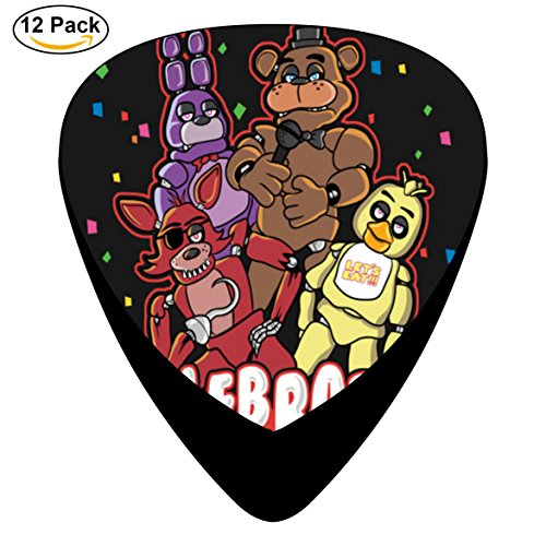 Five Nights Celebrate at Freddy's Guitar Picks Graphic Fashion Celluloid 12-pack Picks Plectrums (Five Nights At Freddys Guitar)