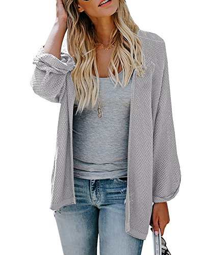 Grey Cotton Cardigan - Farktop Womens Cardigans Open Front Chunky Long Sleeve Lightweight Cardigan Sweaters Coats