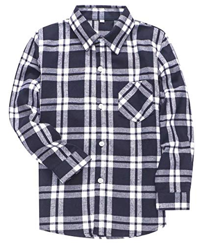 SANGTREE BOY Kids Long Sleeves Button Down Flannel Cotton Plaid Shirt Tops for Toddlers and Little Boys, Navy