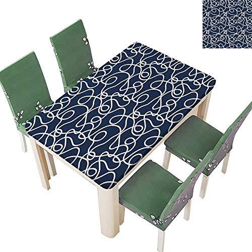 Maple Atlantic Desk (Printsonne Table in Washable Polyeste Sea Atlantic Ocean spired Tangled Ship Mar Rop Image Navy Blue Wh Wedding Party Restaurant 54 x 102 Inch (Elastic Edge))
