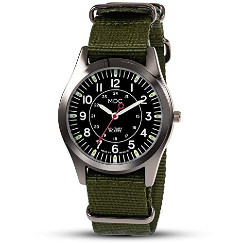 MDC Mens Military Analog Watch Army Field Quartz Wrist Watches for Men Sport Tactical Wristwatch 24 Hour with NATO Band