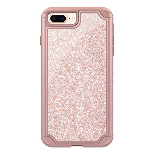 iPhone 7 Plus/iPhone 8 Plus Case, CUSKING Anti Scratch TPU and Glitter Hard PC Case Heavy Duty Bumper Case, Anti Shock Protective Cover for Apple iPhone 7 Plus/iPhone 8 Plus, Rose Gold