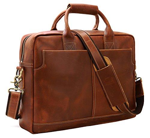 Iswee Leather Attache Briefcase Business Bag Shoulder Messenger Satchel Bags For Laptop Macbook for Men (Light Brown)