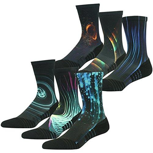 Huso Mens Fashion Funky Crazy Galaxy Printed Sports Quick Wicking Elastic Crew Hiking Socks 6 Pairs  Black  L Xl