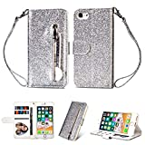 Zipper Wallet Case for iPhone 6s/6,Aoucase Luxury Glitter Sparkly Bling Pocket Purse Wrist Strap Soft TPU Stand Leather Case with Black Dual-use Stylus - Silver