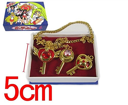 3pcs Anime Cartoon Sailor Moon Cosplay Weapons Necklace Metal Pendants