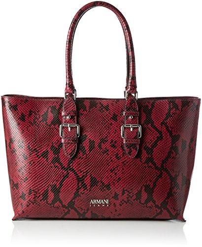 799f581d3365 Armani Jeans Women s Borsa Snake Effect Shopper Bag Burgundy One Size