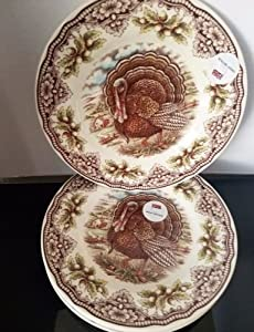 The Victorian English Pottery Thanksgiving Turkey Salad Plates Set Of 4 & Amazon.com | The Victorian English Pottery Thanksgiving Turkey Salad ...