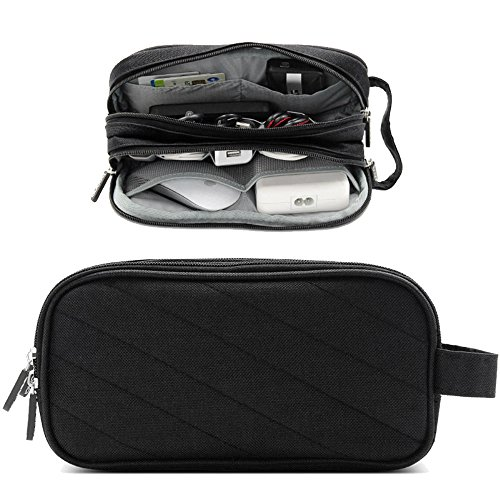 Honeystore Double Layer Electronic Cord Organizer Travel Case Gadget Organizer Bag Electronics Accessories Storage for Mouse, USB Cable, Plug, Flash Drive, Power Bank, Earphone and More Black by Honeystore