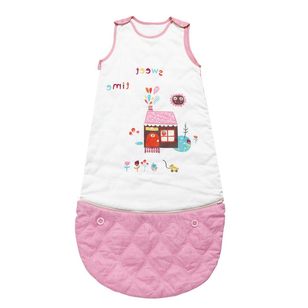 i-baby Organic Cotton Baby Sleeping Bag 4 Seasons Wearable Blanket Baby Slumber Sacks for Children 0-3 Years (Pink)