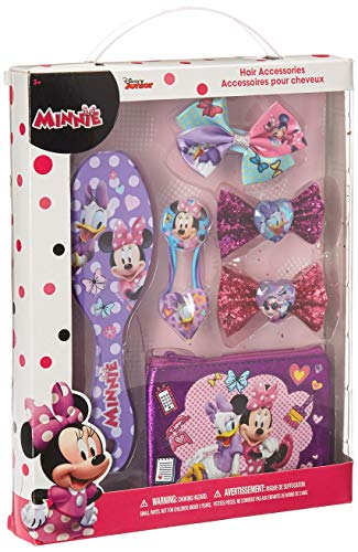 TownleyGirl Minnie Mouse Hair Set, Includes Hair Brush, Hair Bows, and Hair Clips, 7 -