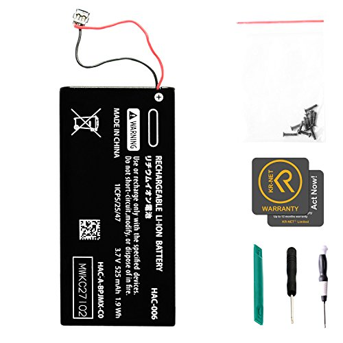 KR-NET 525mAh Internal Battery Replacement HAC-006 for Nintendo Switch Joy-con Controller, with Screws and Tools ()