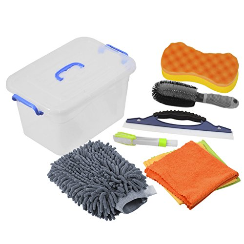 DEDC Car Cleaning Tools Kit Exterior and Interior in Box Bucket UPGRADED, Car Vent Brush Tire Brush Wash Mitt Sponge Wax Applicator Microfiber Cloths Window Water Blade 7pcs Grey Gift (Cleaning Care Kits Car)