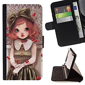 BullDog Case - FOR/Samsung Galaxy S5 Mini, SM-G800 / - / Cute Girl Painting /- Monedero de cuero de la PU Llevar cubierta de la caja con el ID Credit Card Slots Flip funda de cuer