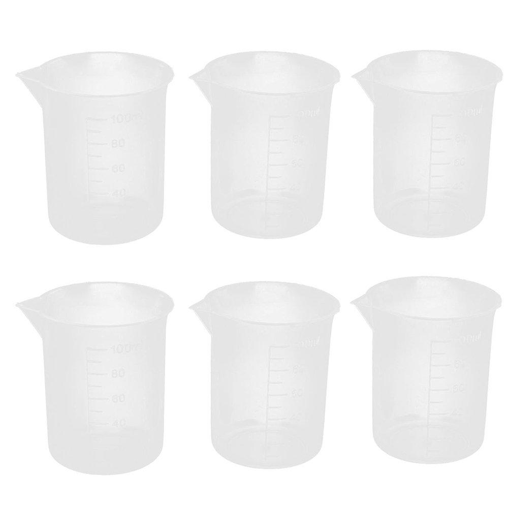 UEETEK 6pcs vasos de plá sticos de 100mL medir tazas recipiente de lí quido de laboratorio