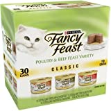 Fancy Feast Classic Poultry & Beef Feast Variety Cat Food 30-3 oz. Cans [includes 10 each: Tender Liver & Chicken, Turkey & Giblets, & Tender Beef & Chicken Feast]