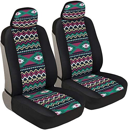 Sideless Design for Easy Installation Universal Fit for Car Truck Van and SUV Front Seats Only Flower Pattern Front Seat Cover Set BDK White Floral Print Faux Leather Car Seat Covers