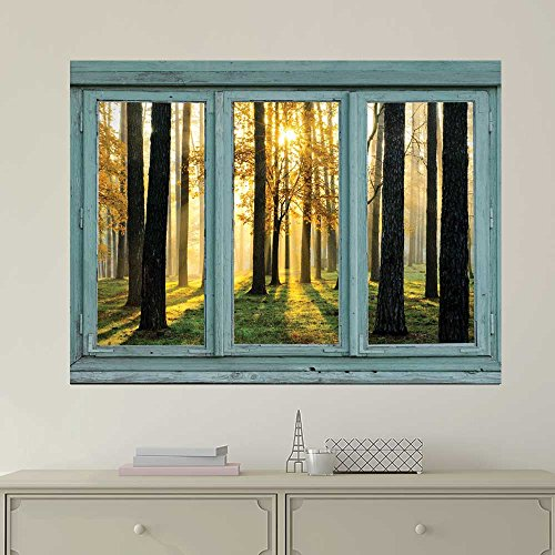 Vintage Teal Window Looking Out Into the Forest and the Sun Peeking Through the Trees Wall Mural