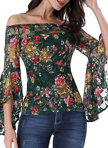 VFSHOW Womens Green Multi Floral Lace Bell Sleeve Off Shoulder Casual Cocktail Party Blouse Top 2727 FLW XS
