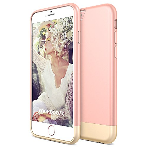 iPhone 6S Case - Maxboost [Vibrance S] iPhone 6 6S Case (4.7 Inch) Slider Style Protective Soft-Interior Scratch Protection Finished Hard Cases Cover - Rose/Champagne Gold