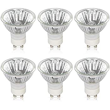 Simba Lighting Halogen GU10 35W Spotlight 120V MR16 with Glass Cover (6 Pack) Dimmable for NP5 Candle Warmer, Accent, Recessed, Track Lighting, 30° Beam Angle, Twist-N-Lock Base, Warm White 2700K