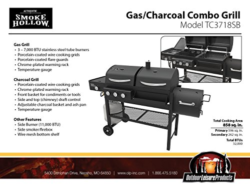 Smoke Hollow TC3718SB Gas-Charcoal-Smoker Combination Grill with Side Burner by Smoke Hollow (Image #6)