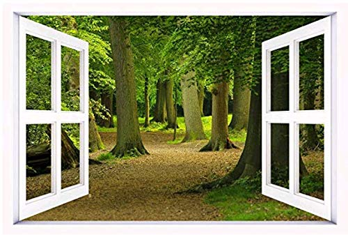 3D Windows Landscape Wall Mural Stickers Home Decor Prints Painting Y009 (6, 36x24inch)