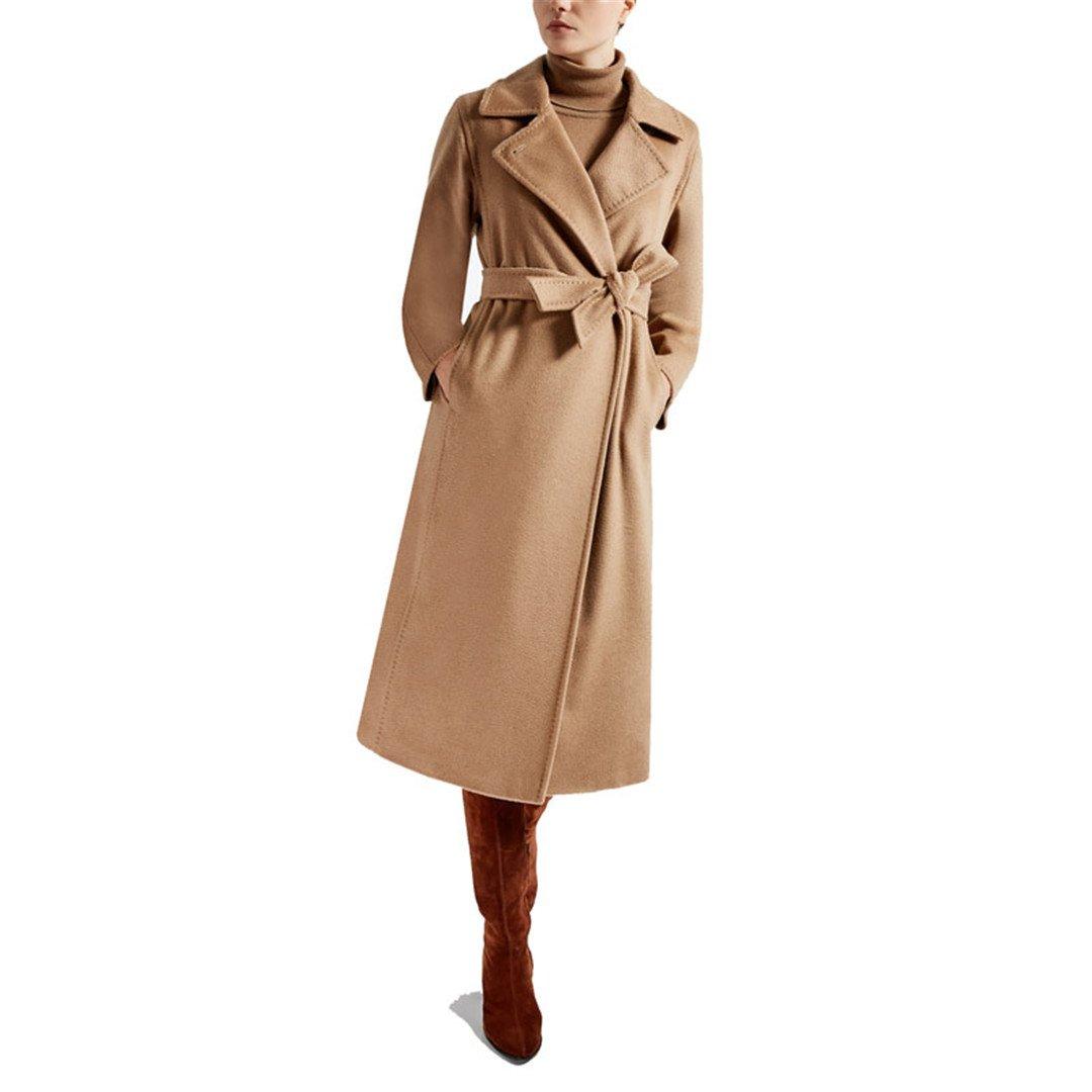 Carmonoudi 2017 New Female Pure Hand Cashmere Overcoat In Autumn and Winter (Camel, Small)