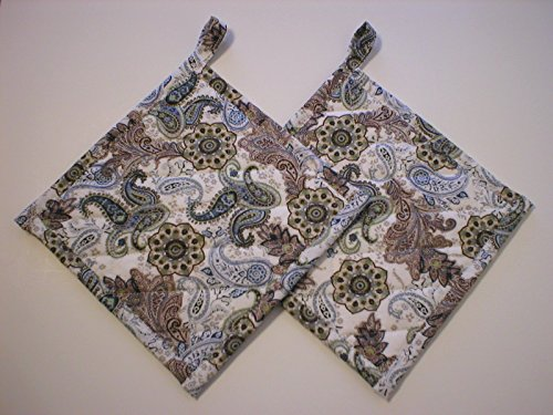 Handmade Quilted Pot Holders, Hot Pads, Trivets, Old Fashion Terry Cloth Filled, Set of 2, Blue Beige White Paisley, With Hanging Loop, 7-1/2