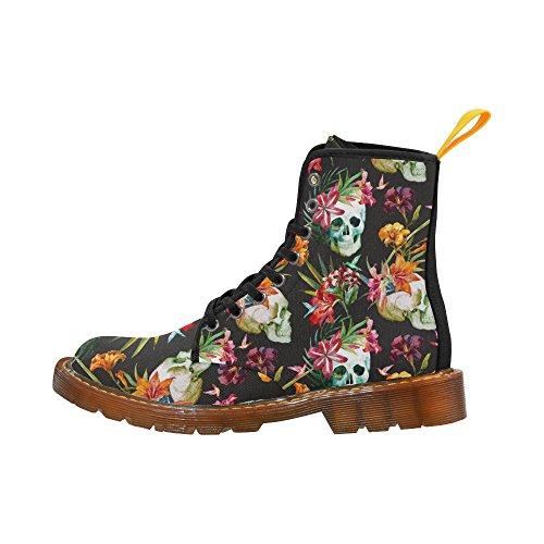 D-story Shoes Fiore Cranio Musica Nota Pizzo Martin Stivali Per Le Donne