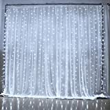 JESLED LED Window Curtain String Lights, 9.8x4.9FT 144 LEDs String Curtain Light, 8 Modes String Lights, for Wedding Party Garden Holiday Decoration (3M x 1.5M, White)