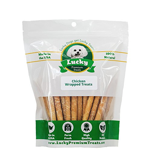 Lucky Premium Treats Chicken Wrapped Rawhide Dog Treats, All Natural Gluten Free Dog Treats for Small Dogs, 50 Chews