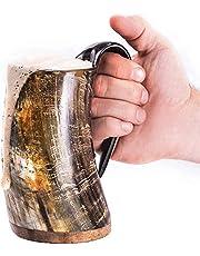 "Norse Tradesman Original Viking Drinking Horn Mug - 500 MLS Premium Viking Beer Tankard with Super-Reinforced Hardwood Bottom |""The Original"", Unpolished, Large"