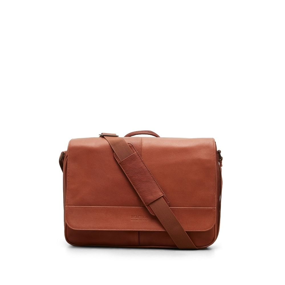 Kenneth Cole Reaction''Risky Business'' Colombian Leather Flapover Cross Body Messenger Bag, Cognac, One Size