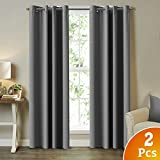Blackout Room Darkening Curtains/Window Panel Drapes – (Grey Color) – 2 Panels – 52 inch Wide by 96 inch Long Solid Grey Pattern Draperies, Grommet For Sale