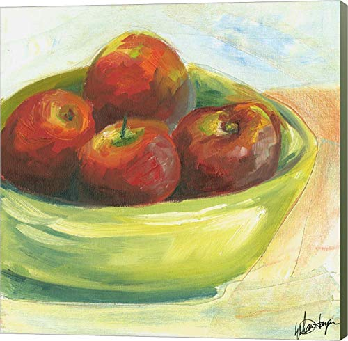 Bowl of Fruit III by Ethan Harper Canvas Art Wall Picture, Museum Wrapped with Sage Green Sides, 22 x 22 inches -
