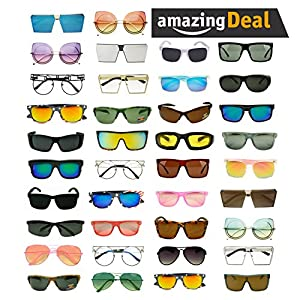 Womens LOT of 12, 25 Assorted Colors & Style Retro Classic Vintage Designer Inspired Sunglasses Wholesale Deal (Lot of 100 (Assorted), Assorted)