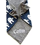 Personalize Minky Baby Blanket or Lovey - Premier Prints Elephant in Navy Minky Front, You Choose SOLID COLOR minky