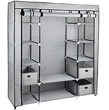 Kleiderschrank regalsystem metall  Gr8 Home Segeltuch-Kleiderschrank Fürs Schlafzimmer, Mit ...