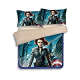 3D The Avengers Bedding Sets - Sport Do Best Gifts for Movie Funs 100% Polyester Skinclose Flat Sheet 3PC Twin