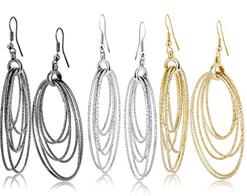 Fashion Costume Jewelry Dangle Drop Circle Hoop Earrings Set For Women Teen Silver Gold Black Tone